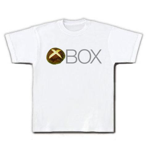 【しいたけマニア必須!XBOX風ゲームTシャツ】しいたけボタンシリーズ シイタケBOX(前面のみ) Tシャツ(ホワイト)