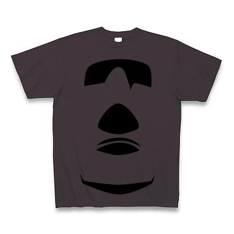 【イースター島からの使者!世界の七不思議グッズ!】かおシリーズ モアイの顔(2012再レイアウトver) Tシャツ(チャコール)【おもしろTシャツ】