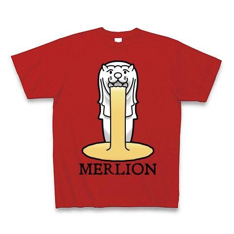 【今夜もゲロリ!宴会・飲み会グッズ!比喩表現としてのマーライオン!】レッテルシリーズ マーライオン(イラスト英字ロゴver) Tシャツ Pure Color Print(赤)【おもしろ宴会余興Tシャツ】