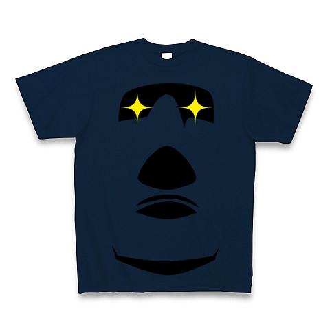 【イースター島からの使者!世界の七不思議グッズ!】かおシリーズ モアイの顔(2012眼光ver) Tシャツ Pure Color Print(ネイビー)【モアイTシャツ】