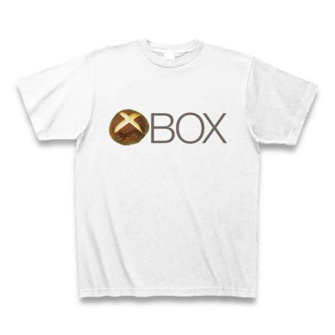 【しいたけマニア必須!ゲーム系グッズ?】しいたけボタンシリーズ シイタケBOX(前面ロゴのみ、再レイアウトver) Tシャツ(ホワイト)【XBOX風Tシャツ】