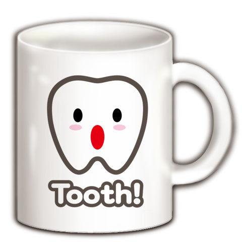 【美人歯科助手に着せたい!トゥース!カスガじゃないよ、かわいい歯イラスト!】かわキャラシリーズ トゥース!(歯)英語ver. マグカップ(ホワイト)