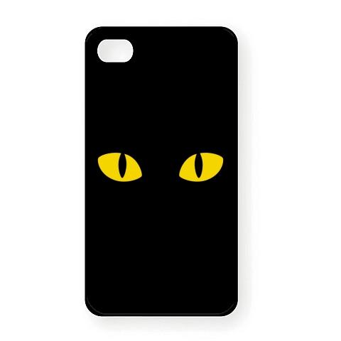 【かわいい猫グッズ!猫Tシャツ!見つめる猫の目、マジプレダンシン!】かおシリーズ 猫の目 〜キャッツアイ〜 iPhone4Sオリジナルケース (ブラック)