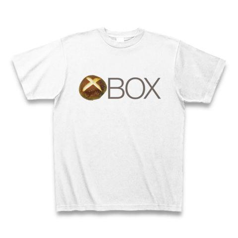 【しいたけマニア必須!ゲーム系グッズ?】しいたけボタンシリーズ シイタケBOX(背面大しいたけ、再レイアウトver) Tシャツ(ホワイト)