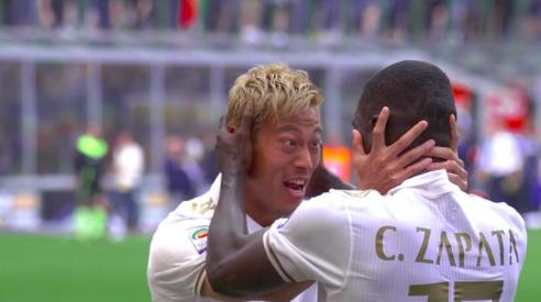 【動画アリ】ミラノダービー、スローで映る本田wwサパタのゴールに喜び爆発!