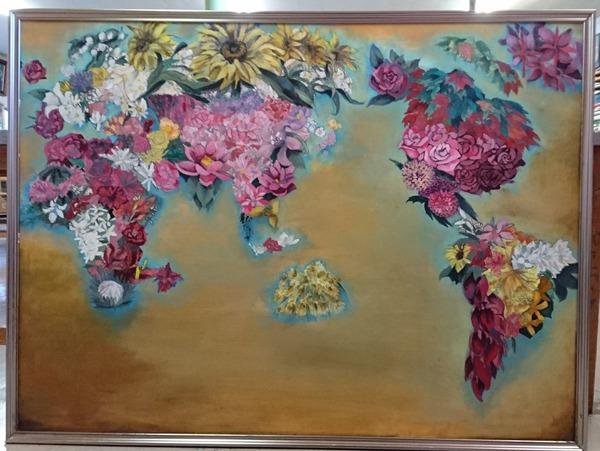 【ネットで反響】「花で描いた世界地図」高校生の作品が世界平和を考えさせるww