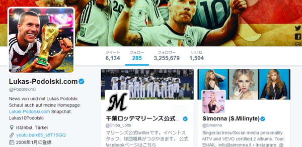 【画像】神戸加入予定のポドルスキ、ツイッターでなぜか「千葉ロッテ」をフォローするwww