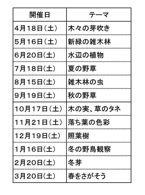 観察会テーマ予定 (2)