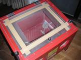 サンドブラストキャビネット(ガラスを取り付ける)
