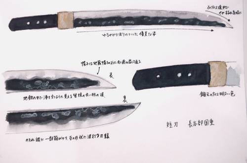 水彩刀剣 短刀長谷部国重