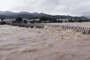 台風18号時の渡月橋
