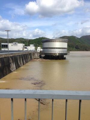 台風18号通過時の日吉ダム