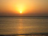白浜海水浴場での夕日