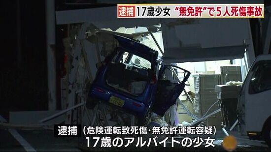 「全く見に覚えがない」無免許の17歳少女、5人乗った軽自動車で倉庫に突撃し一人死なせる