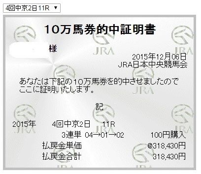 チャンピオンズカップ318430円3連単12点的中万馬券証明書