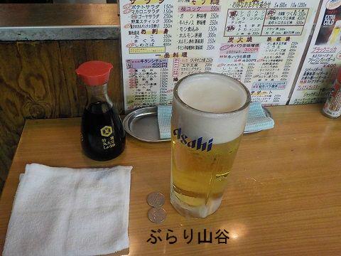 上野立ち飲みで生ビール注文