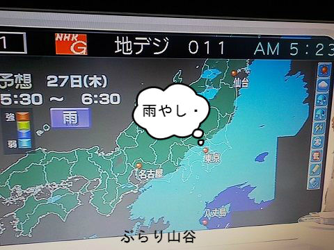 天気予報が外れ雨が降る