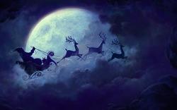 christmas-santa-claus-sleigh-flying-reindeer-moon-wallpapers
