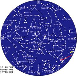 9月中旬夜8時頃の星空