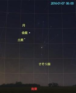 2016年1月7日 明け方の惑星と月