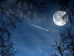 流れ星と満月