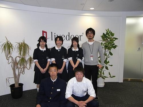 岩手県矢巾町矢巾中学校の生徒さん5名がライブドアにやってきたので、Open & Shareについて話した