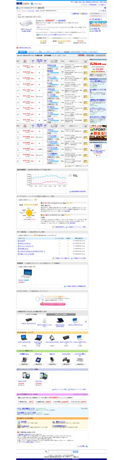com - ASUS Eee PC 1001HA (ホワイト) 価格比較