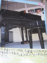 ねこがピアノを見上げている