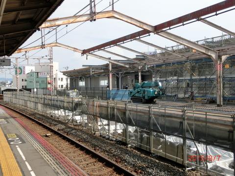 鴫野駅 2番のりば改装工事(2015年8月)