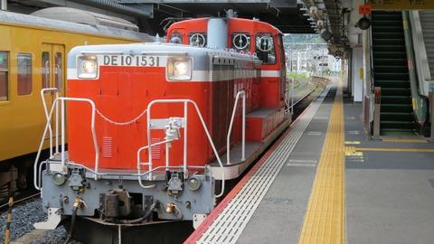 新山口駅の山陽線ホームに、「DLやまぐち号」 で使われたDLが停車していた件 (2021年9月)