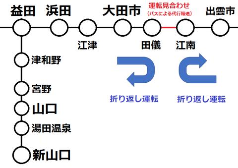 山陰線 田儀~江南 運転見合わせ