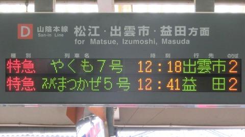 米子駅 旧駅舎 改札口の電光掲示板(発車標) 【2019年4月】