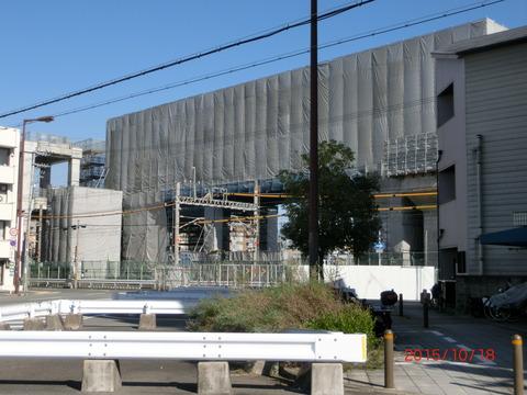 阪急淡路駅 高架化工事(2015年10月)