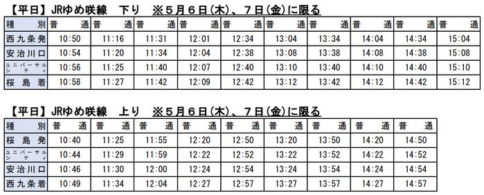 JRゆめ咲線 GW減便(平日)