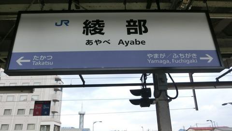 綾部駅の駅名標が更新! 新・ラインカラーに! (2017年1月)