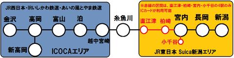 ICOCA北陸エリアとSuica新潟エリア