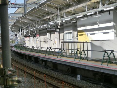 鴫野駅 1番のりば改装工事(2018年12月8日)