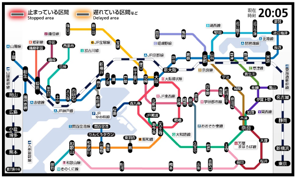 路線図式の運行情報:路線図イメージ(新規) \u203bJR西日本