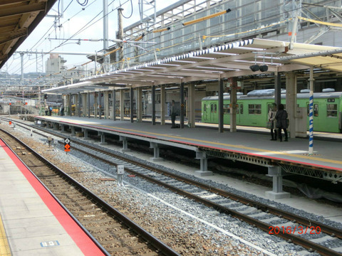 京都駅 JR奈良線ホーム改良工事(2016年3月)