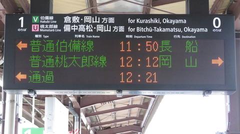 総社駅で改めて発車標を撮る (のりば番号変更後) 【2020年10月】