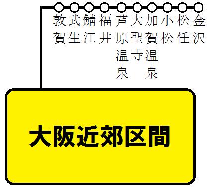 大阪近郊区間+北陸本線 特急停車駅の図