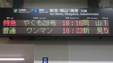 米子駅 仮駅舎 改札口の電光掲示板(発車標) 【2020年10月】