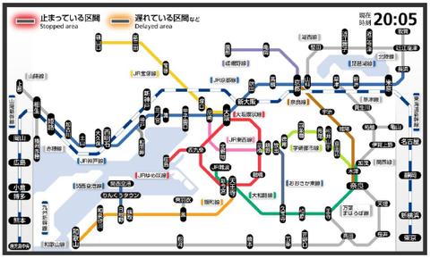 路線図式の運行情報:路線図イメージ(現行)