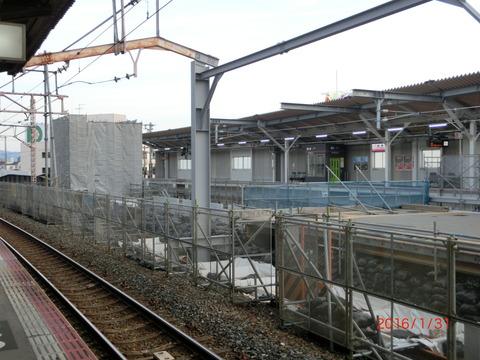 鴫野駅 2番のりば改装工事(2016年1月31日)