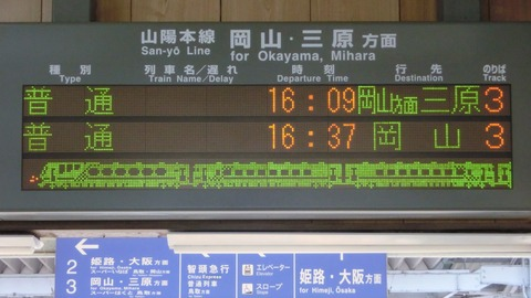 上郡駅 ホーム・改札口の電光掲示板(発車標) 【2020年9月ほか】