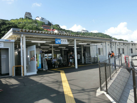 尾道駅 駅舎建て替え工事  解体中の旧駅舎&仮駅舎の様子(2017年8月)