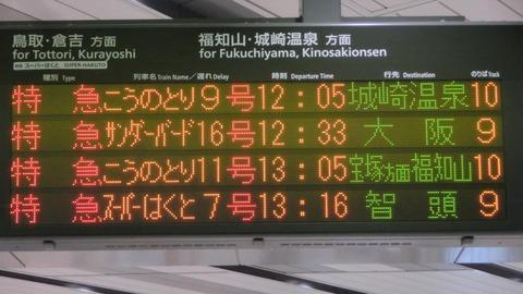 新大阪駅で特急スーパーはくと 「智頭行き」 を撮る (西日本豪雨に伴うレアな行き先) 【2018年7月】