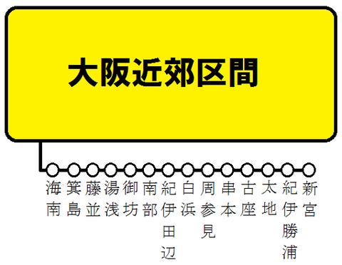 大阪近郊区間+きのくに線 特急停車駅の図