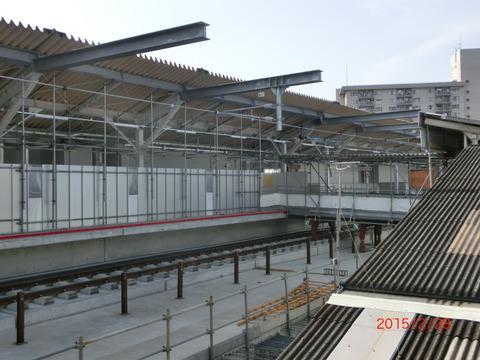 鴫野駅 新ホーム設置工事(2015年2月28日)