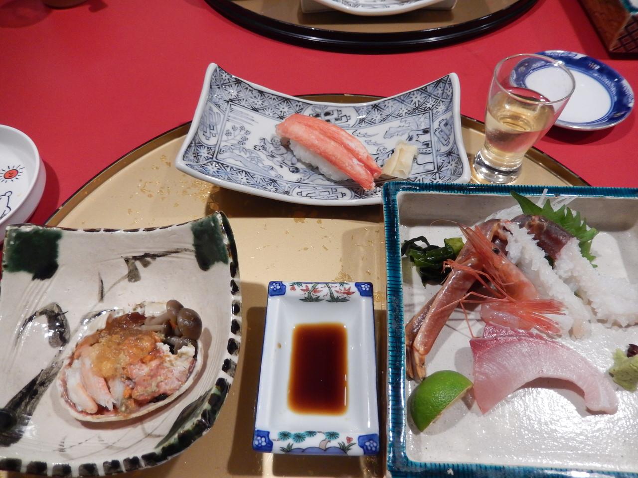 ずわいがに握り寿司・甲羅盛・かし刺し